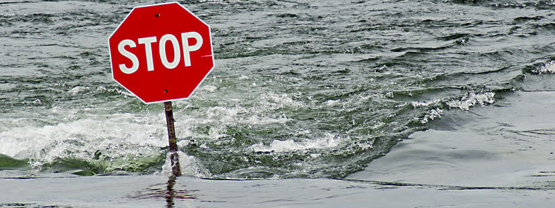Stop sign in flood